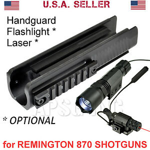 Forend-for-Remington-870-Shotgun-Tri-Rail-Handguard-Metal-Optional-Laser-Light