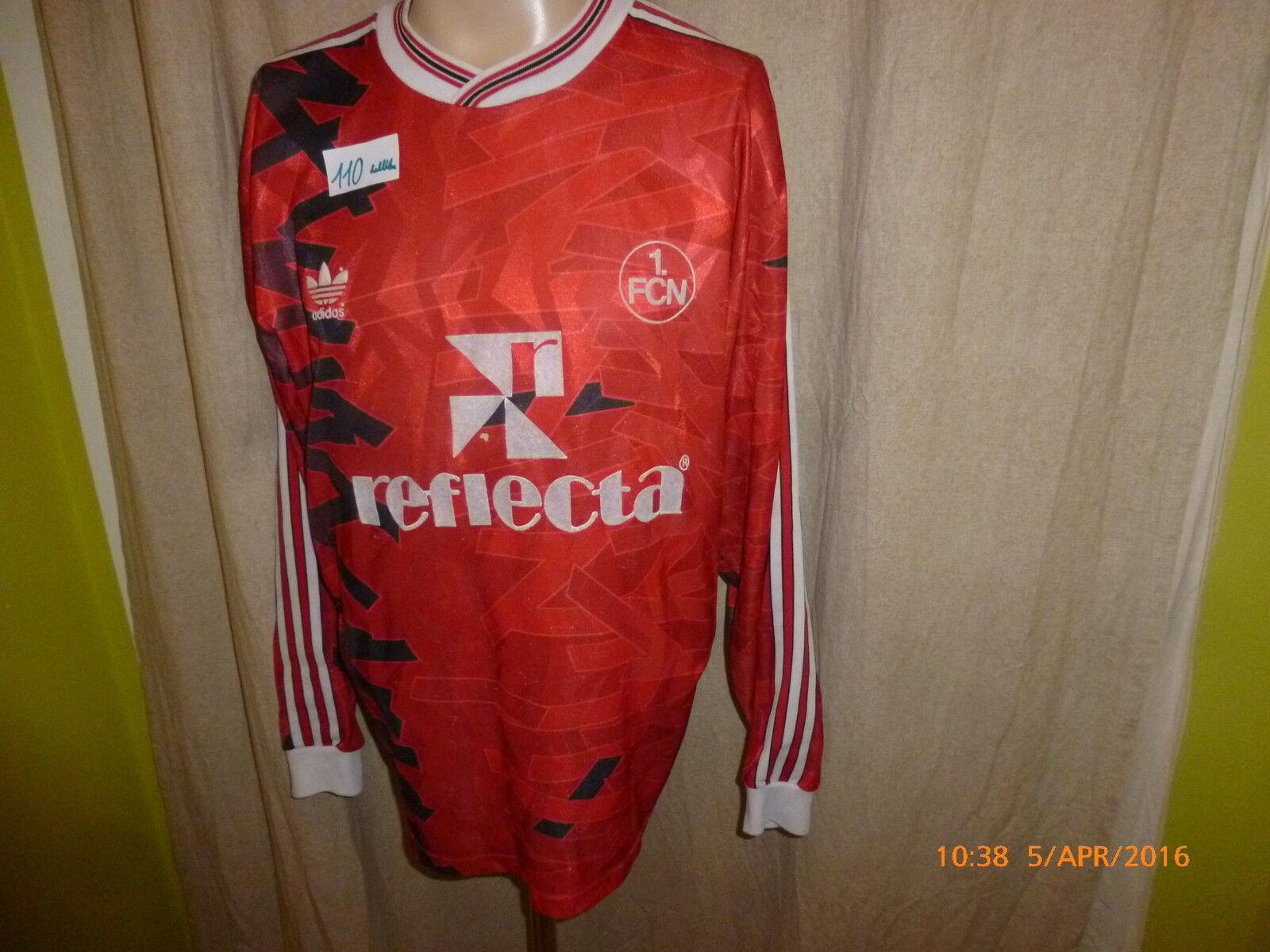 1.FC Nürnberg Adidas Langarm Trikot 1992 93  reflecta rund ums  + Signiert Gr.L  | Feine Verarbeitung