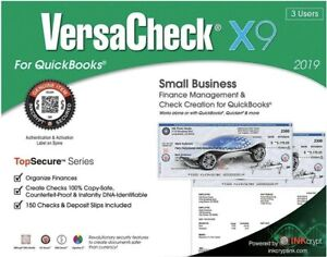 3 Users-Sealed-FREE SHIPPING VersaCheck Small Business X9 2018 for Quick Books