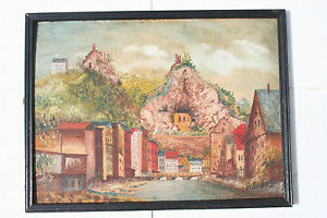 Art Framed Hans-schmid Endorff Impression Oil Painting Masonite Panel Valley Village