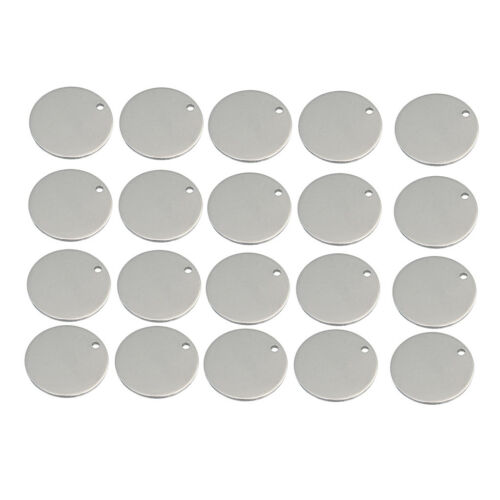 20x Metal Flat Round Circle Blank Charms Tag Pendant Engrave Disc Coin 18mm