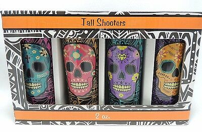 Halloween Sugar Skulls Tall Shooters Colors Day of The Dead 4 Shot Glasses Four