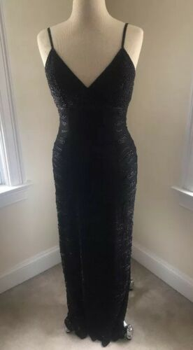 Cache Long Black Beaded Gown -M
