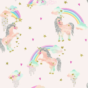 Image Is Loading Soft Pink Rainbow Unicorn Wallpaper Magical Theme For