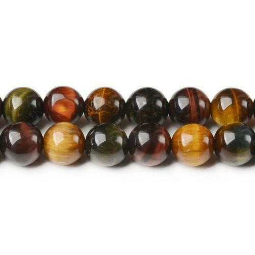 Tiger Eye Round Beads 10mm Mixed 32 Pcs Gemstones DIY Jewellery Making Crafts