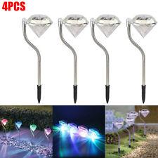 4x Solar Powered LED Diamond Stake Lights Garden Outdoor Fairy Summer Lamp Edge