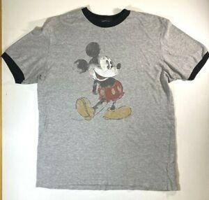 Disneyland-Resort-Mickey-Mouse-Distressed-Ringer-T-Shirt-MEDIUM-Gray-Graphic