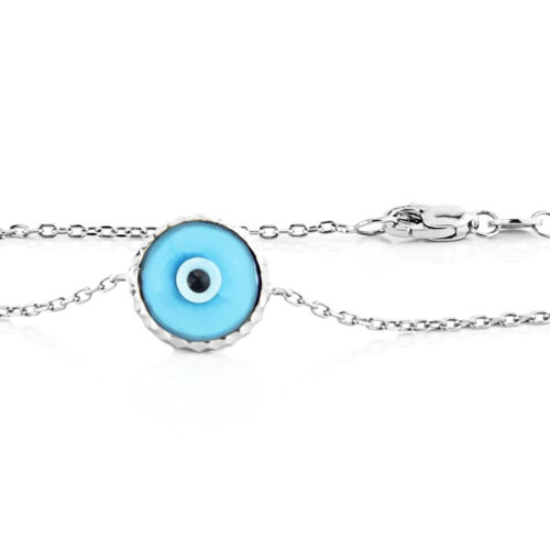 Handmade 14K White Gold Evil Eye Bracelet Florescent Blue 7.5 Inches