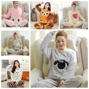 98010ce76c70 Women Ladies Warm Fleece Winter PJ Pyjama Set Night Wear PJ s ...