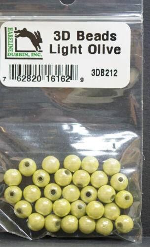 3d Beads Light Olive ø 6mm 30 pièce Hareline articulaires picker plastique perles