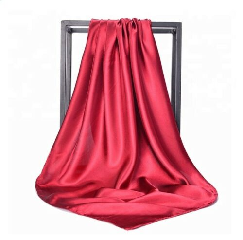 Plain sciarpa di seta raso quadrato Fiocchetto collo Wrap Fascia Per Capelli 50*50 Cappotto