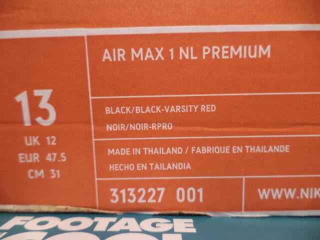 2018 Nike Max 1 Rojo NL Premium cemento Air impresión Negro Rojo 1 Gris Plata 313227-001 13 a11db2