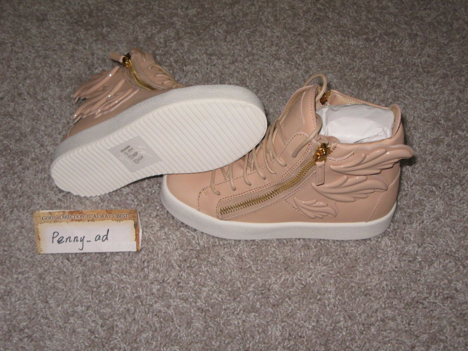 1175 Giuseppe Zanotti Pink Leather Wings London High-Top Sneakers Euro 37 US 7