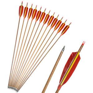 "30/"" Archery Carbon Arrows SP500 Turkey Feathers Arrowheads Bow Hunting Target"