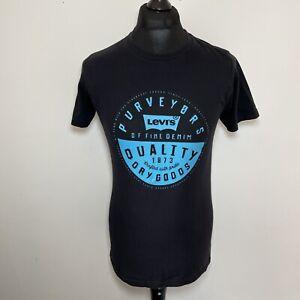 Levi's Purveyors Men's Black Blue Logo Printed Short Sleeved Small S Tee T-Shirt