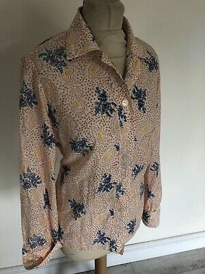 Adattabile Vintage Anni'70 Arancione & Blu Paisley Camicia Aderente Stampa Camicetta Uk 16 Grandi-mostra Il Titolo Originale Prestazioni Superiori