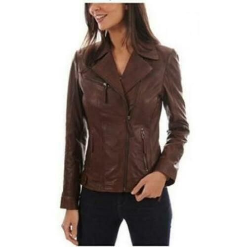 Classic Women Pure Real Leather Biker Slim Fit Lambskin Brown Jacket Soft Zipper