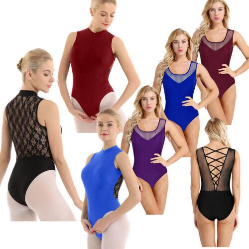 Women Gymnastics Ballet Dance Bodysuit Leotard Skater Lace Unitard Costume Tops