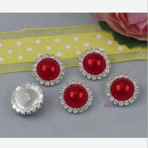 10pcs 15mm Round Rhinestone Pearl Cluster Wedding Rhinestone Button DIY Sale US