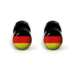 Fake-Plugs-2er-Set-Piercing-Ohrstecker-Deutschland-Fahne-Plug-Edelstahl-Acryl