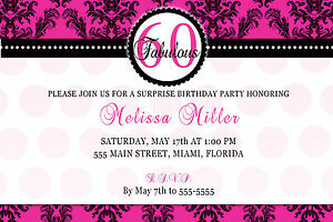 Details About 30 Invitation Cards 60th Birthday Party Adult Invites Any Age Hot Pink Damask A1
