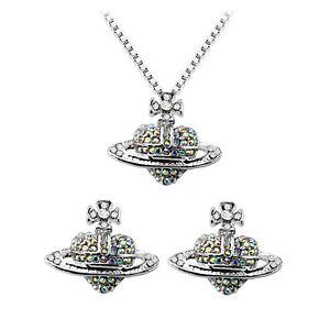 Silver-Orb-Hearts-Cross-Stud-Earrings-amp-Pendant-Necklace-Jewellery-Set-S661