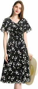 Gardenwed Floral Chiffon Dresses for Women Flowy Homecoming Cocktail Dress Summe