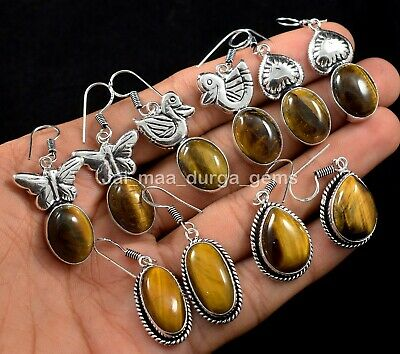 Details about  /Sterling Silver Natural TIGER/'S EYE Disc Dangle Earrings #4992...Handmade USA