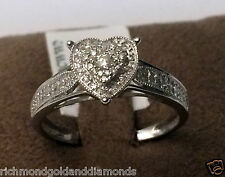 14k White Gold Heart Halo Antique Vintage Style Diamond Engagement Promise Ring