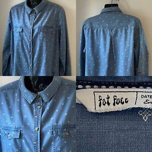 FAT FACE BLUE DENIM PRINTED LONG SLEEVE SHIRT DRESS SIZE 16 FRONT POCKETS