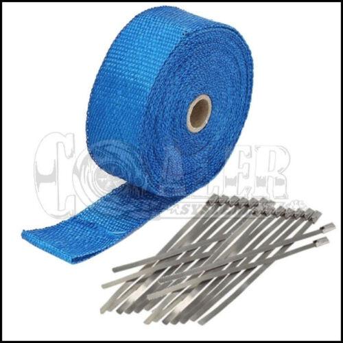 "8 Ties Kit 1/"" 50Ft Roll Blue Fiberglass Exhaust Header Pipe Heat Wrap Tape"