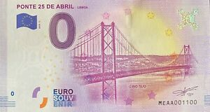 BILLET-0-EURO-PONTE-25-DE-ABRIL-LISBOA-PORTUGAL-2018-NUMERO-1100