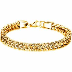18K Yellow Gold Plating Bracelet Bangle Chain Fashion For Women Men Jewellery