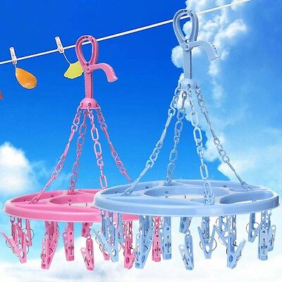 Plastic Drying Hanger Rack Laundry Hanging Sock Clothes Footwear Circle 18 Pins