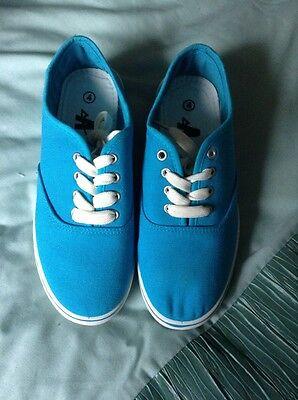 Lote: Damas Niñas Turquesa Lona Con Cordones Zapatillas de tenis, Size UK 4