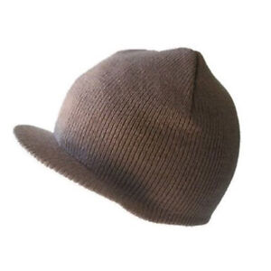 Image is loading NEW-CUFFLESS-BROWN-BEANIE-Visor-Skull-Cap-HAT 78fcebdba974