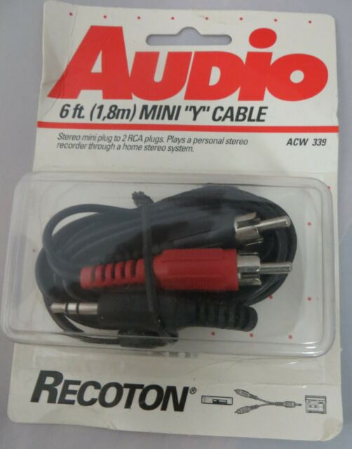 1//8 Mini to 2 RCA Male Connector Recoton ACW339 Audio Y Cable