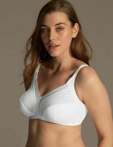 Ex M/&S Marks /& Spencer Total Support Non Wired Full Soft Cup White Bra 36-44 B-G