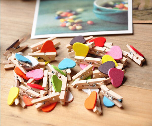 Adorable 10Pcs Multi-color Wooden Mini Clip Wood Pegs Subtle Crafts Party Favor