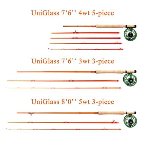 Maxcatch 3//4//5WT 7/'6/'/' 5Piece Fiberglass Fly Fishing Rod UniGlass Travel Rod