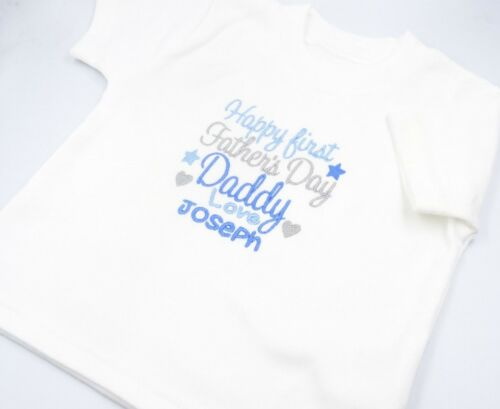 Personalised Embroidered  HAPPY FIRST FATHERS DAY love *NAME* 1ST BABY CLOTHING