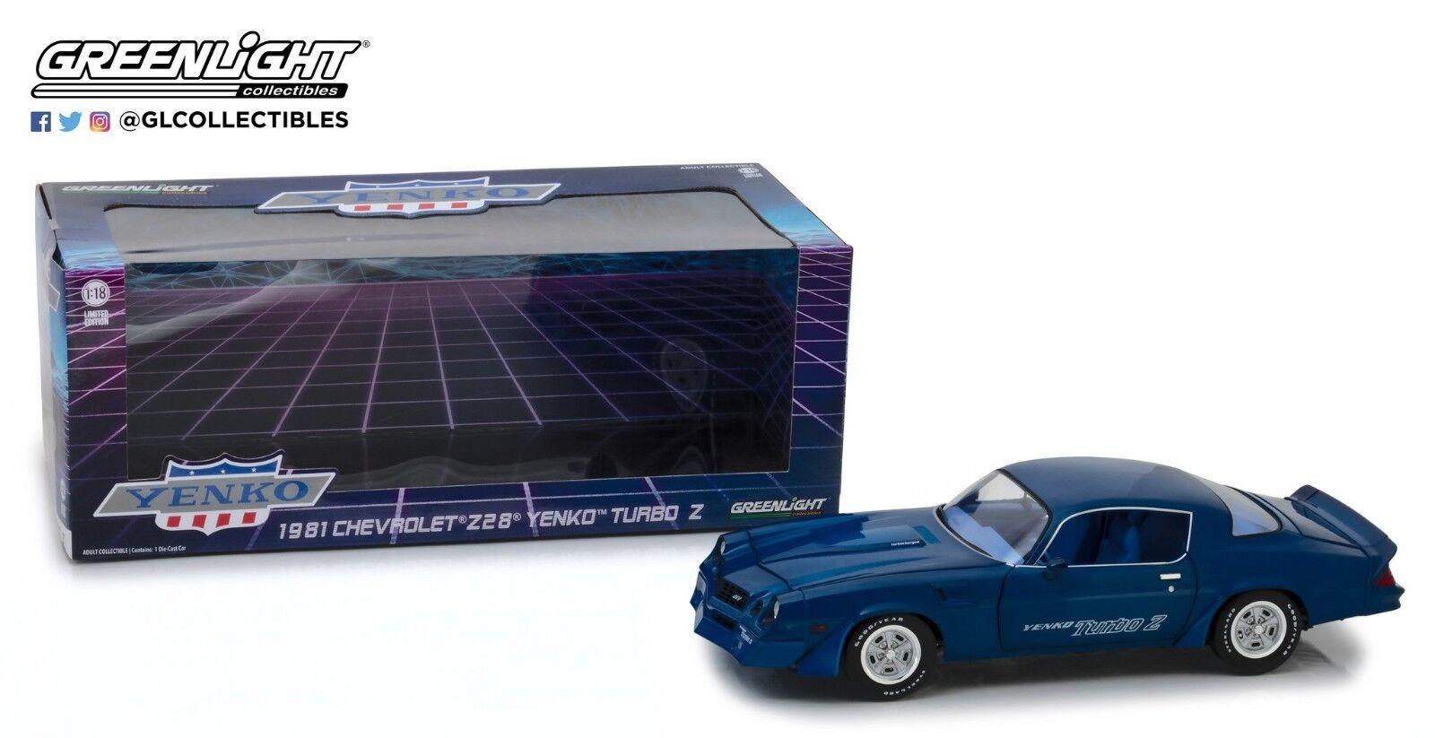 GreenLight 1 18 1981 Chevrolet Z 28 Yenko Turbo Z bluee 13520
