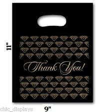 100pc Thank You Bags Black Merchandise Bags Plastic Retail Handle Bag 9x11h