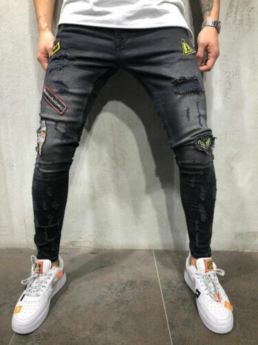 Men Fashion Ripped Skinny Embroidery Jeans Destroyed Frayed Slim Fit Denim Pants