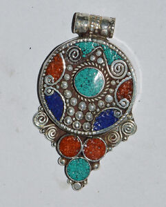 Asian-Ethnic-Sterling-Silver-Pendant-Turquoise-jewelry-Handmade-Jewelry-OCT50