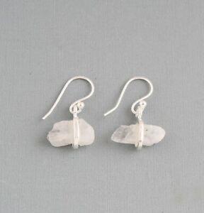 Moonstone-Rough-Gemstone-925-Sterling-Silver-Earrings-Raw-Jewelry