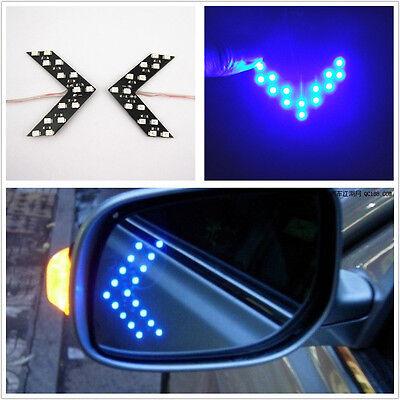 2 Pcs Blue Arrow Indicator 14SMD LED Car Side Mirror Turn Signal Light For Benz