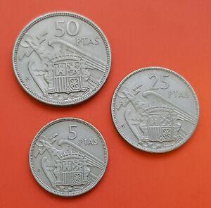 Serie-BA-ESTRELLA-TRUCADA-5-PESETAS-25-PESETAS-50-PESETAS-1957-FRANCO-Espana