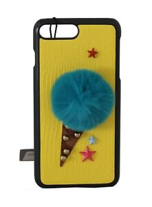 984d8abfaefe NEW  380 DOLCE   GABBANA Phone Case Yellow Leather Fur Ice Cream ...