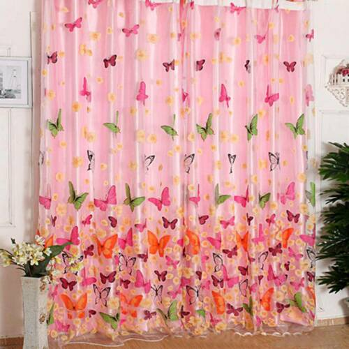 Window Curtain Romantic Floral Tulle Voile Door Drape Panel Sheer Scarf Valances